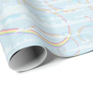 Pastel Rainbow, Clouds, Blue Sky, Swirl, Colorful Wrapping Paper