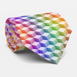 Pastel Rainbow Colored Shaded 3D Look Cubes Tie