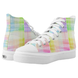 Pastel Rainbow Colored Watercolor Patchwork Printed Shoes