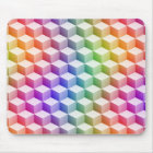 Pastel Rainbow Coloured Shaded 3D Look Cubes Mouse Mat