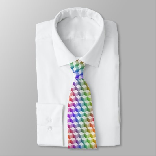 Pastel Rainbow Coloured Shaded 3D Look Cubes Tie