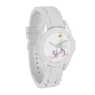 Pastel Rainbow Floral Swirlings Wristwatch