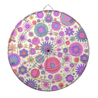 Pastel Rainbow Flower Pattern Dartboard