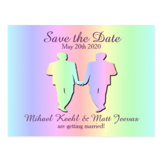 Pastel Rainbow Gay Pride Save the Date Postcard