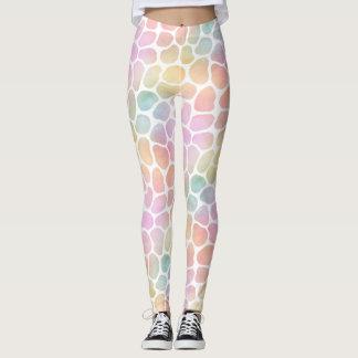 Pastel Rainbow Giraffe Watercolor Whitespace Leggings