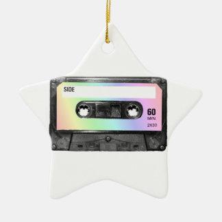Pastel Rainbow Label Cassette Ceramic Star Decoration