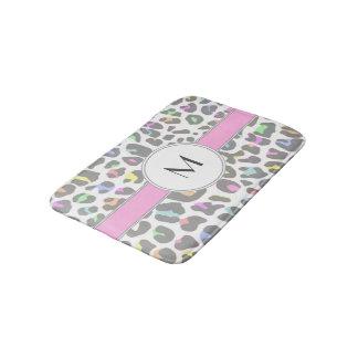 Pastel Rainbow Leopard Print Custom Monogram Bath Mat