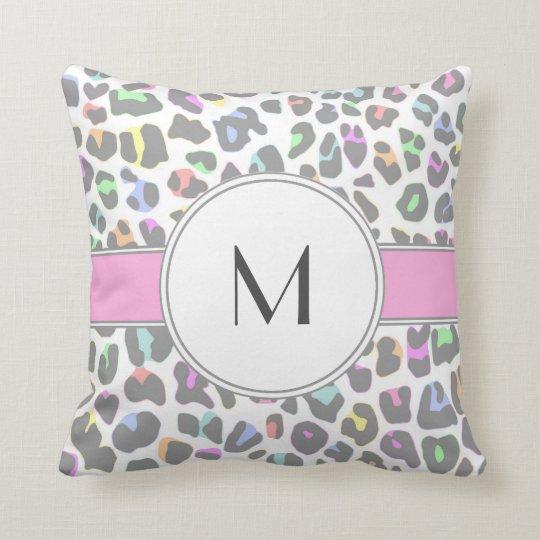 Pastel Rainbow Leopard Print Custom Monogram Cushion