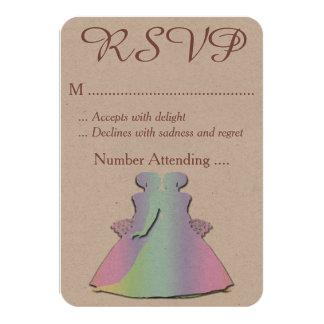 Pastel Rainbow Lesbian RSVP for a Gay Wedding 9 Cm X 13 Cm Invitation Card