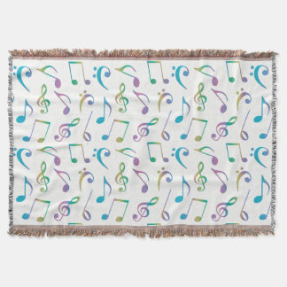 Pastel Rainbow Music Notes On White or Any Color Throw Blanket