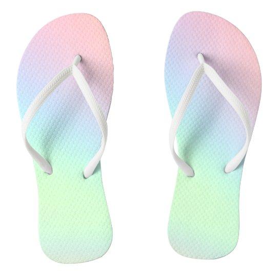 830f2d3e8e826 Pastel Rainbow of Colour Flip Flops