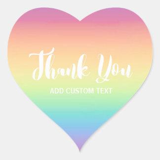 Pastel Rainbow Ombre Custom Thank You Heart Sticker