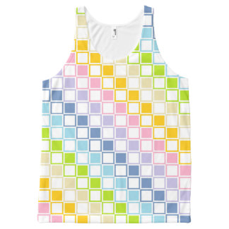 Pastel Rainbow Outlined Squares All-Over Print Tank Top