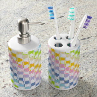 Pastel Rainbow Outlined Squares Soap Dispenser And Toothbrush Holder