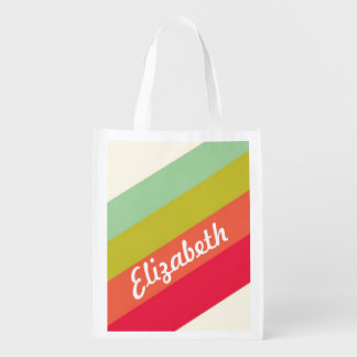 Pastel Rainbow Personalized Name Reusable Grocery Bag