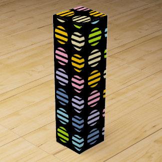 Pastel Rainbow Polka Dots and Stripes Black Wine Gift Box