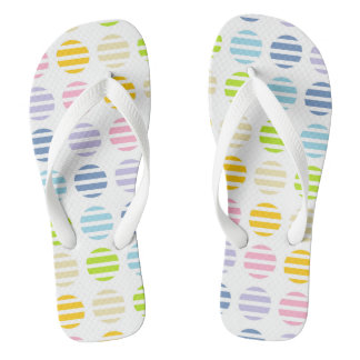 Pastel Rainbow Polka Dots and Stripes Flip Flops