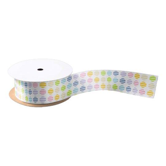 Pastel Rainbow Polka Dots and Stripes Satin Ribbon