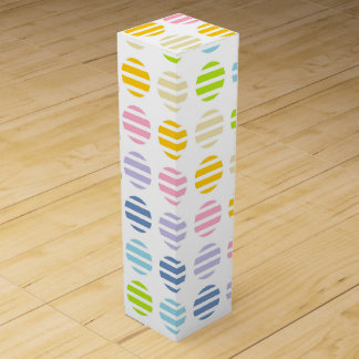 Pastel Rainbow Polka Dots and Stripes Wine Bottle Boxes