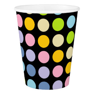 Pastel Rainbow Polka Dots Black Paper Cup
