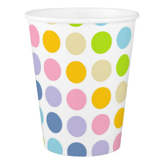 Pastel Rainbow Polka Dots Paper Cup