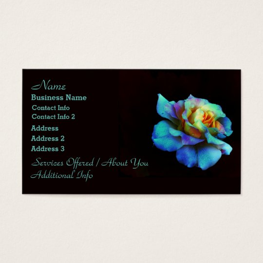 Pastel Rainbow Rose Business Cards
