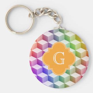 Pastel Rainbow Shaded 3D Cubes Cantaloupe Monogram Basic Round Button Key Ring