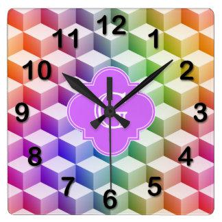 Pastel Rainbow Shaded 3D Cubes Lilac Monogram Wallclocks
