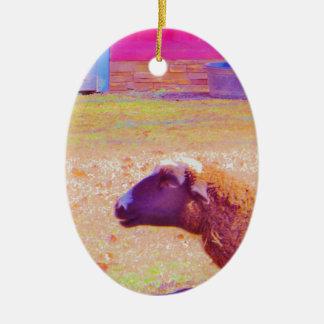 Pastel Rainbow Sheep Ceramic Oval Decoration