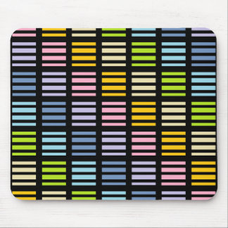 Pastel Rainbow Squares and Stripes Black Mouse Pad