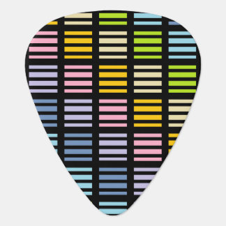 Pastel Rainbow Squares and Stripes Black Plectrum
