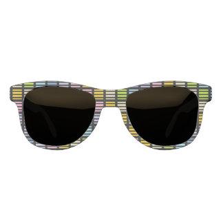 Pastel Rainbow Squares and Stripes Black Sunglasses