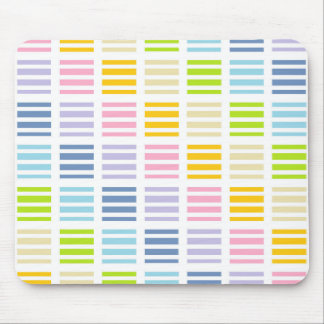 Pastel Rainbow Squares and Stripes Mouse Pad