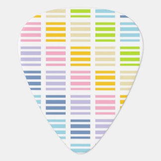 Pastel Rainbow Squares and Stripes Plectrum