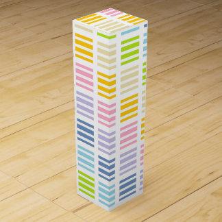 Pastel Rainbow Squares and Stripes Wine Box