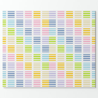Pastel Rainbow Squares and Stripes Wrapping Paper