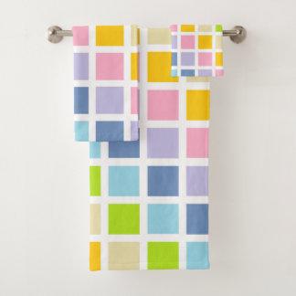 Pastel Rainbow Squares Bath Towel Set
