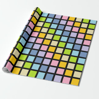 Pastel Rainbow Squares Black Wrapping Paper