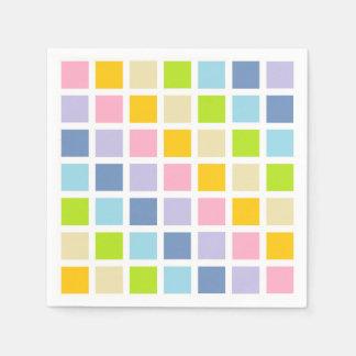 Pastel Rainbow Squares Disposable Serviette