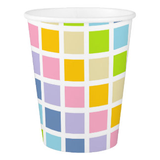 Pastel Rainbow Squares Paper Cup