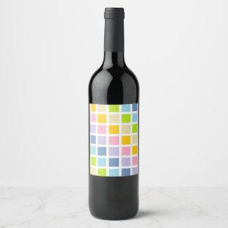 Pastel Rainbow Squares Wine Label