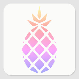 Pastel Rainbow Stencil Hawaiian Pineapple Square Sticker