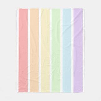Pastel Rainbow Striped Fleece Blanket