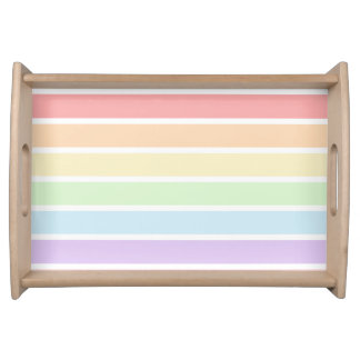 Pastel Rainbow Striped Serving Tray