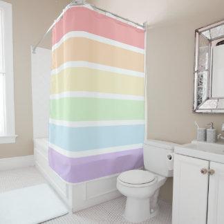 Pastel Rainbow Striped Shower Curtain