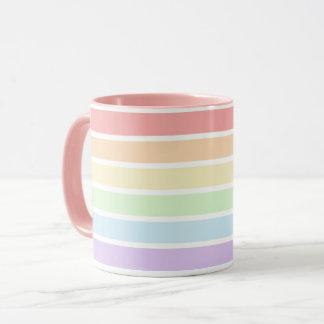 Pastel Rainbow Stripes Combo Mug