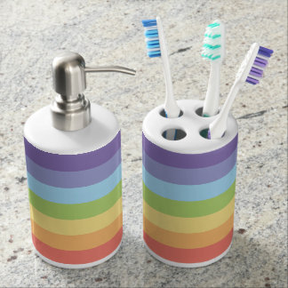 Pastel rainbow stripes Gay Pride Bathroom Set