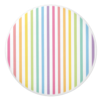 Pastel Rainbow Stripes Pattern Ceramic Knob
