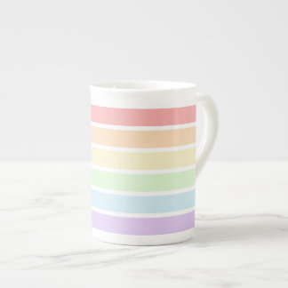 Pastel Rainbow Stripes Tea Cup