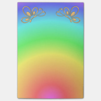 Pastel Rainbow Sunset and Gold Butterfly Profile Post-it Notes